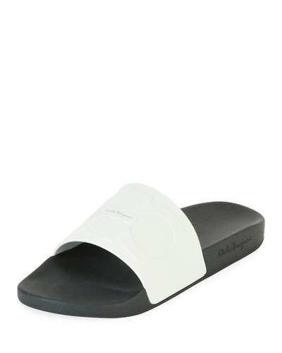 03eb708f5119 Salvatore Ferragamo Men s Groove 2 Original Double Gancini Slide Sandals In  White