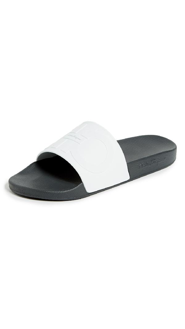 ddea375292fd5f Salvatore Ferragamo Men's Groove 2 Original Double Gancini Slide Sandals In  White
