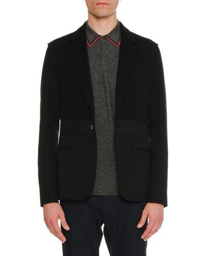 Lanvin Mixed-media One-button Jacket In Black