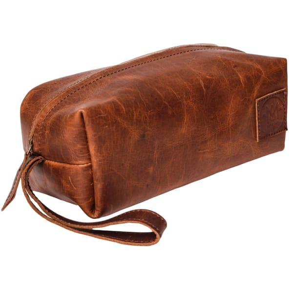 Mahi Leather Leather Classic Toiletry Bag In Vintage Brown With Brown Stitching