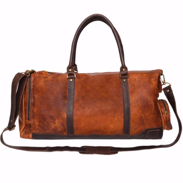Mahi Leather Leather Columbus Holdall In Vintage Brown With Mahogany Details