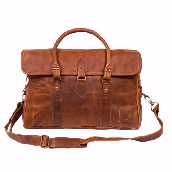 Mahi Leather Leather Drake Holdall Weekend/Overnight Bag In Vintage Brown