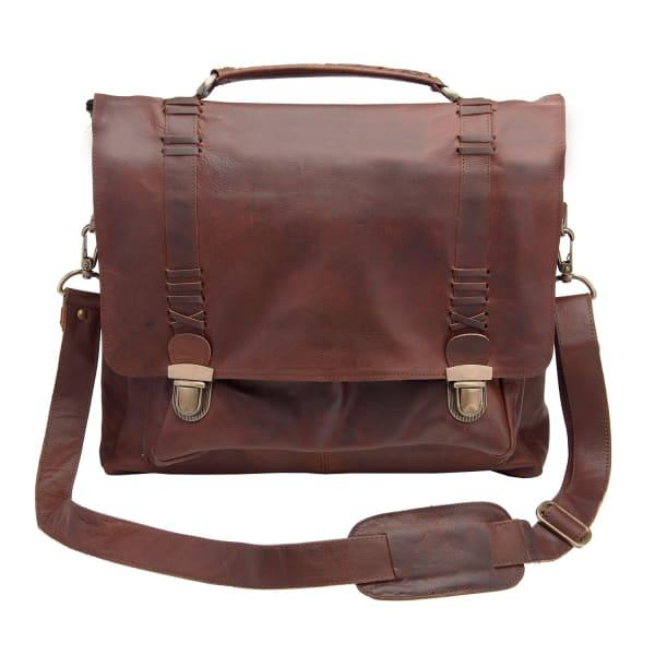 Mahi Leather Leather Classic Satchel Messenger Bag In Vintage Brown