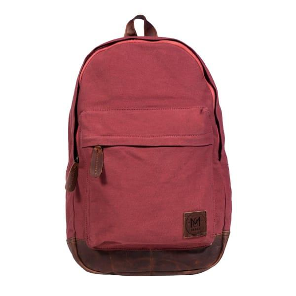 Mahi Leather Leather Canvas Classic Backpack Rucksack In Red
