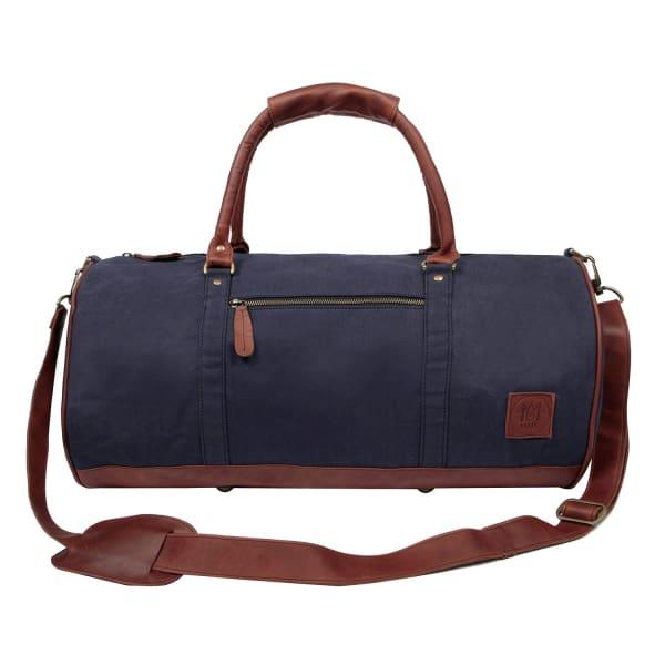 Mahi Leather Gym Duffle In Navy Canvas & Brown Leather