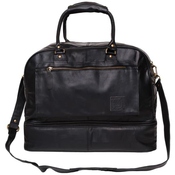 Mahi Leather Large Leather Raleigh Holdall Bag With Under Compartment In Black