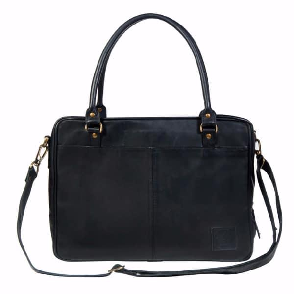 """Mahi Leather Leather Oxford Zip-Up Satchel Briefcase Bag With 15"""" Laptop Capacity In Black"""
