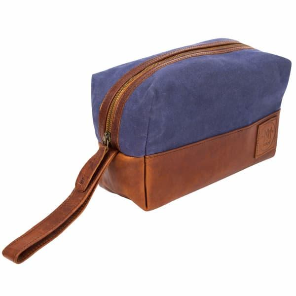 Mahi Leather Canvas & Leather Classic Wash Bag In Navy & Brown