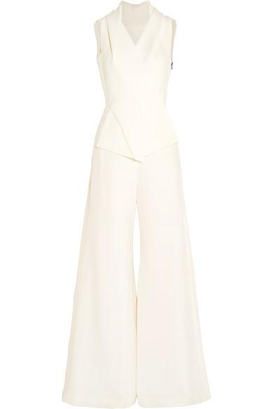 Roland Mouret Admaston Wool-Crepe Jumpsuit In White
