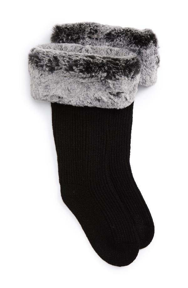 a2a8db91b Rib Knit Socks With Faux Fur Cuffs in Charcoal Wool