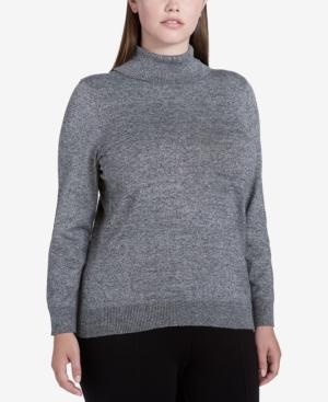 Calvin Klein Plus Size Turtleneck Sweater In Marled