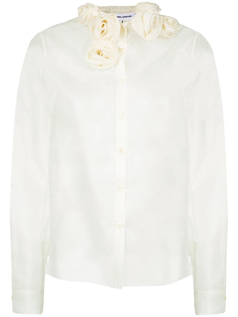 daadda6937bf6 Gloria Coelho Rose Applique Shirt - White. Farfetch