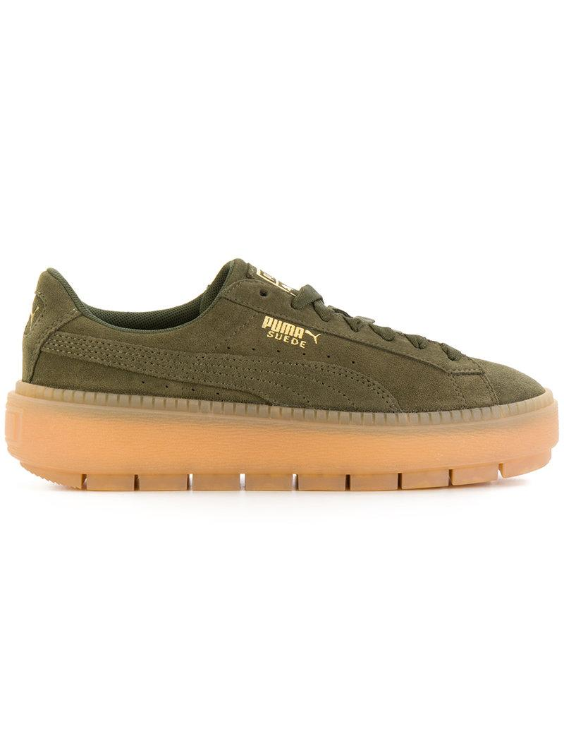 Puma Women s Suede Platform Rugged Casual Sneakers From Finish Line In Green 3e272fc72