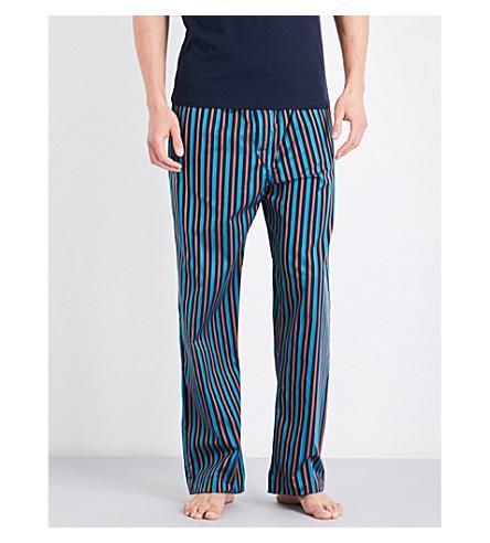 Derek Rose Naturally Stripe Cotton Pyjama Bottoms In Teal Orng