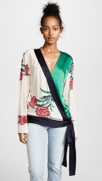 5055ef62f6c1b ... blouse V-neckline Self-tie design Long sleeves Floral print   Colour-block front panel Fabric 1  Pure silk  Fabric 2  86% triacetate