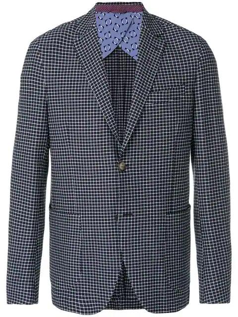 Etro Blue Checked Stretch Cotton-Seersucker Blazer