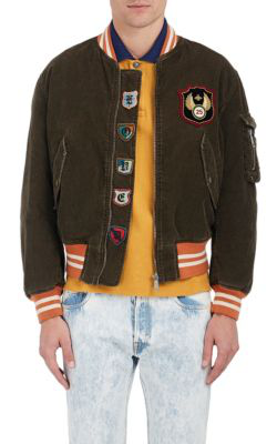 Gucci Cotton-Blend Corduroy Bomber Jacket - Olive