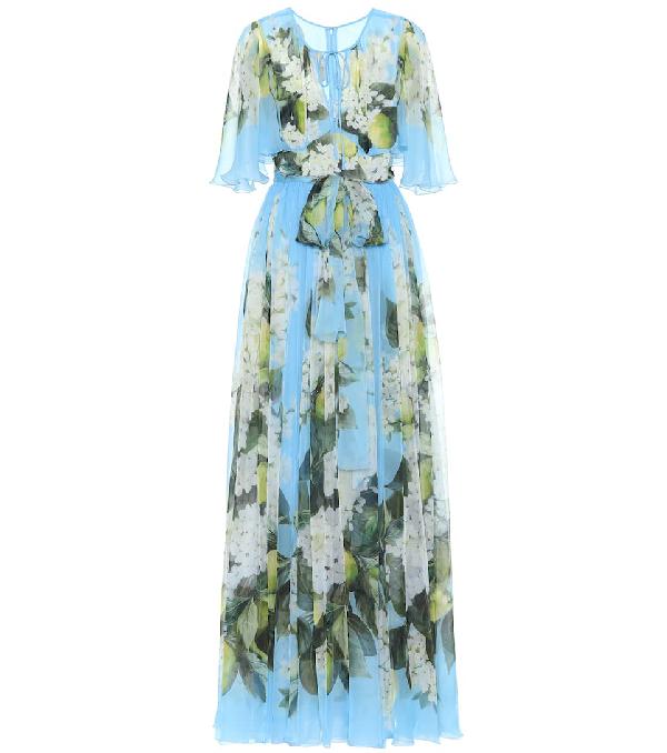 Dolce & Gabbana Floral Print Lightweight Silk Long Dress In Blue