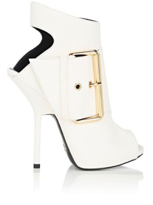 Giuseppe Zanotti Buckle-Detail Suede Ankle Boots In White