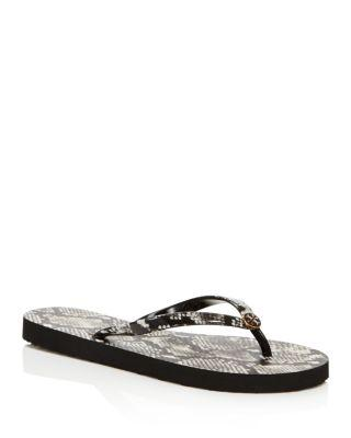 b2d157b02 TORY BURCH Women S Printed Thin Logo Flip-Flops in Roccia. Tory Burch Women