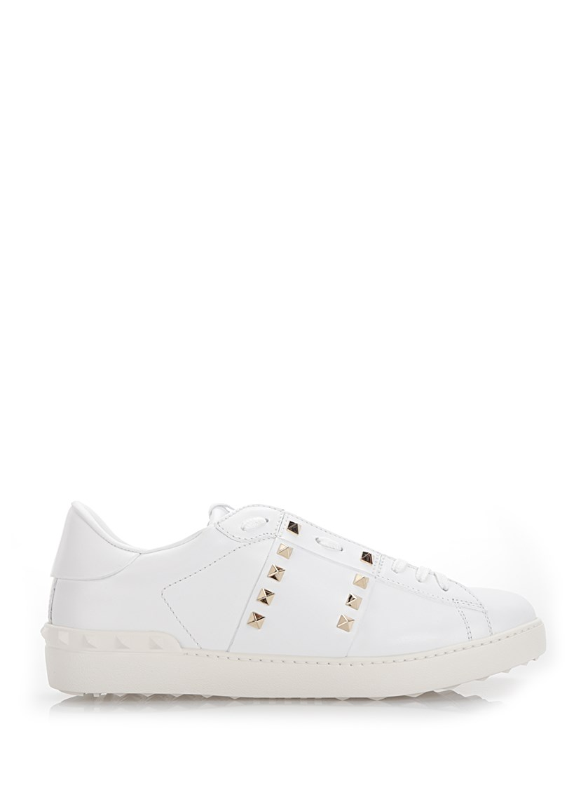 Valentino Rockstud Leather Sneakers In White