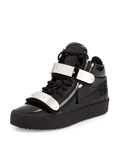 b0c3c89b40dc0 Giuseppe Zanotti Men's Double-Strap Patent Leather Mid-Top Sneakers, Black