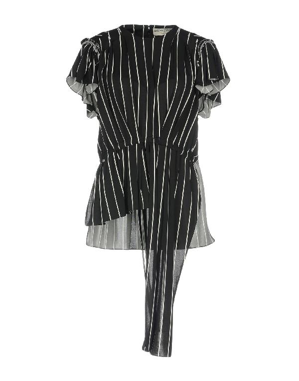 Balenciaga Stripes Crewneck Top In Black