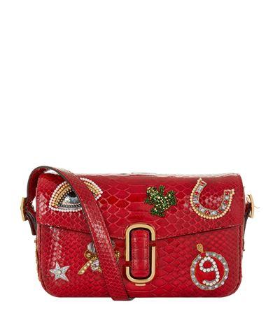 Marc Jacobs Embellished Python Shoulder Bag In Crimson