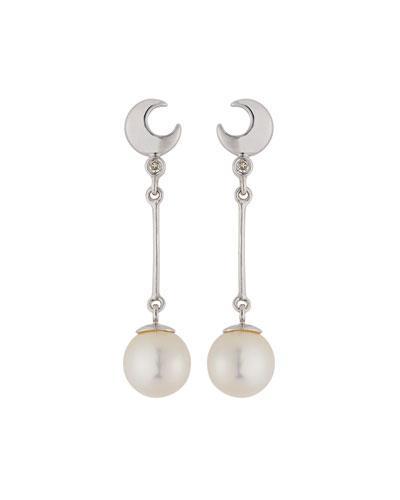 39fb84f78 14K CRESCENT MOON, DIAMOND & PEARL DANGLE EARRINGS. Belpearl dangle earrings  in 14-karat white gold.