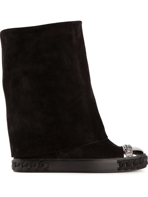 Casadei Fold-Over Mid-Calf Boots In Black