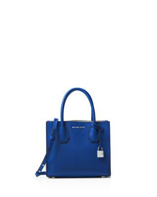 8b82ca7d78ff Michael Michael Kors Studio Mercer Medium Leather Messenger In Electric Blue /Silver