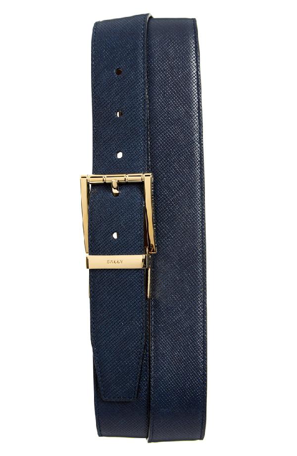 Bally Astor Reversible Leather Belt, Blue In Ink