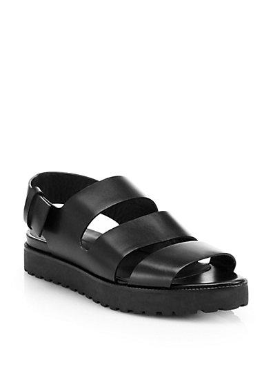 Alexander Wang 10Mm Alisha Sling Back Leather Sandals, Black