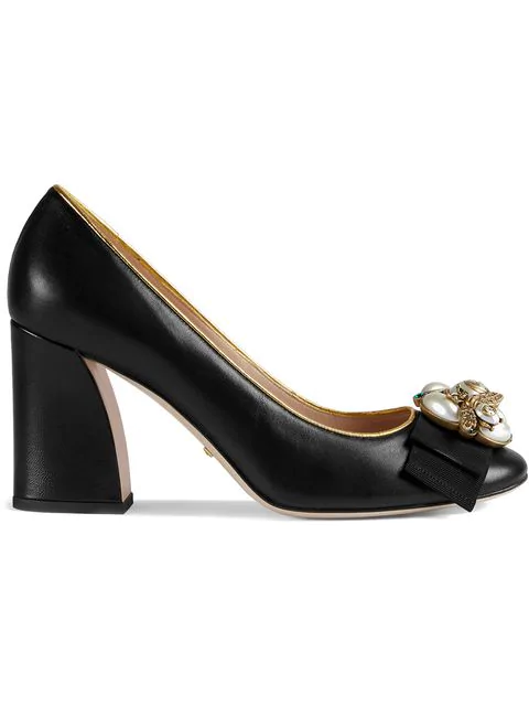 Gucci Leather Mid-Heel Pump With Bee In Black