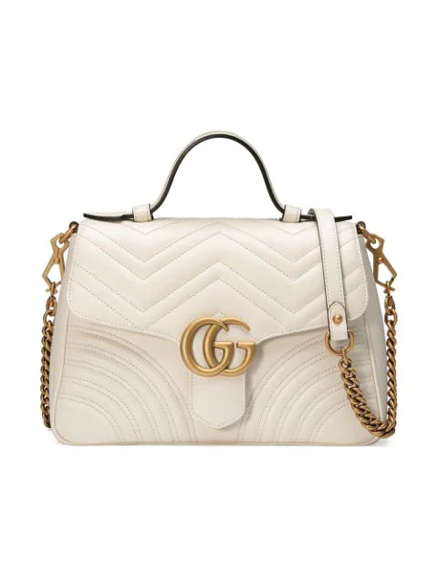 Gucci Gg Marmont Small Quilted Leather Shoulder Bag In White