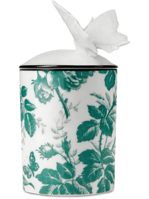Gucci Herbosum, Medium Herbarium Butterfly Candle In White