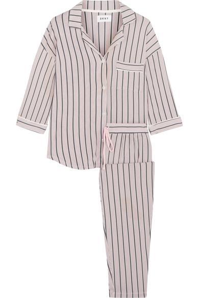 948875e824 Modern Attitude Striped Stretch-Modal Jersey Pajama Set in Gray