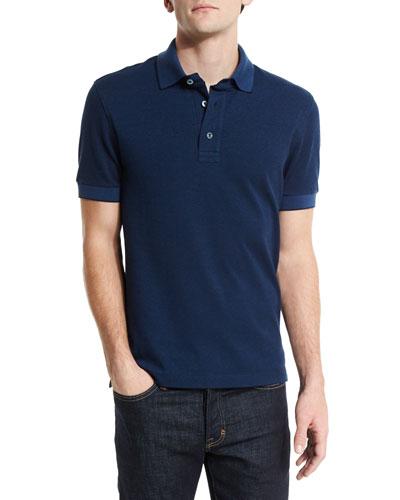 7f4c8da7 Tom Ford Short-Sleeve Pique Oxford Polo Shirt, Blue | ModeSens