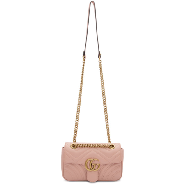 Gucci Gg Marmont Mini Leather Shoulder Bag In 5909 Pink