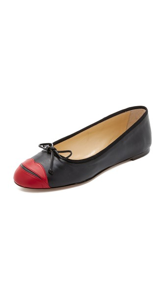Charlotte Olympia 'Kiss Me Darcy' Leather Ballet Flat (Women) In Black