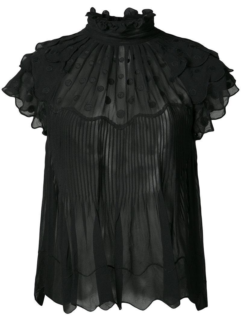 Ulla Johnson Darla Embroidered Silk-georgette Top In Black