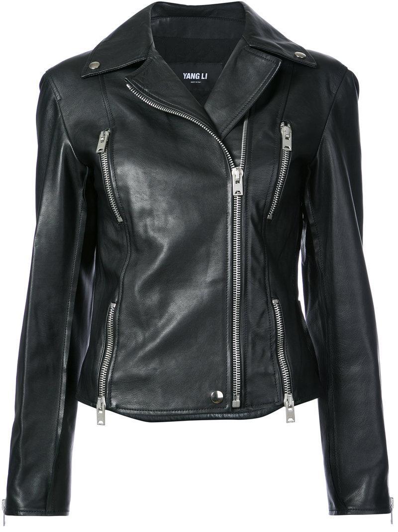 Yang Li Slim Biker Jacket In Black