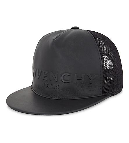 20066089f46 Givenchy Logo Embossed Leather Snapback Cap In Black