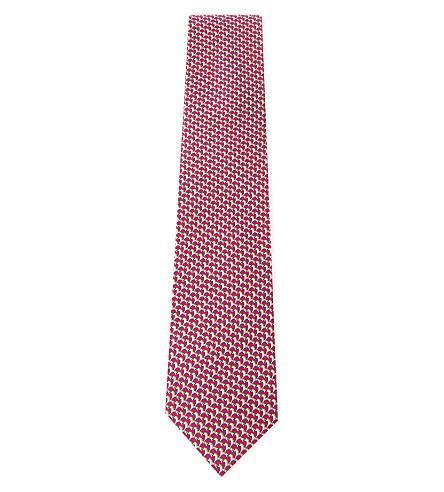 Salvatore Ferragamo Horse-Print Silk Tie In Fuschia