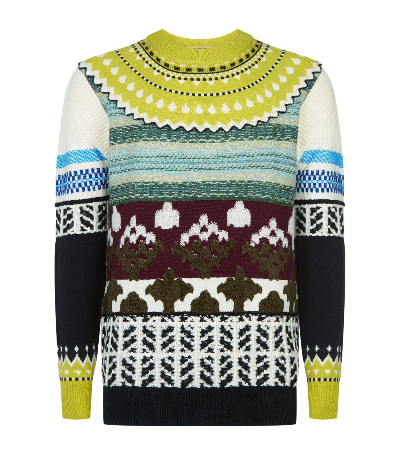 Fair Isle Multi-Knit Cashmere Wool Sweater in Green