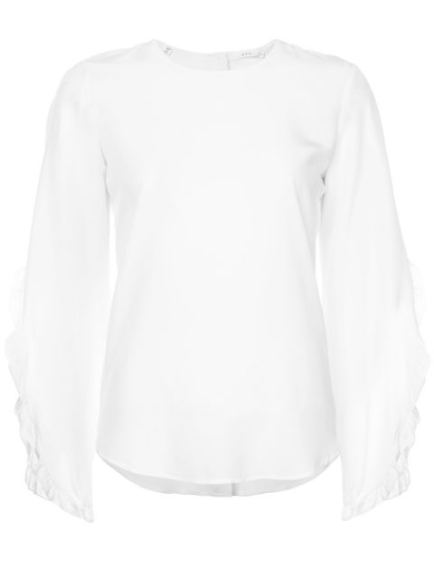 A.L.C Hera Long-Sleeve Silk Top In White