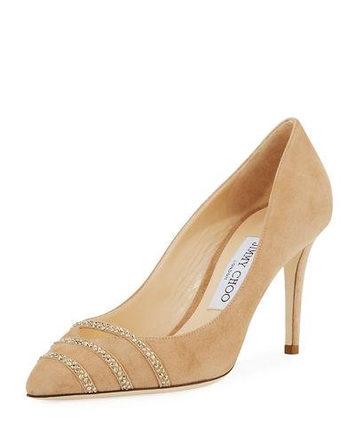 0332d146b47 Jimmy Choo Bethany Suede 85Mm Pump In Nude