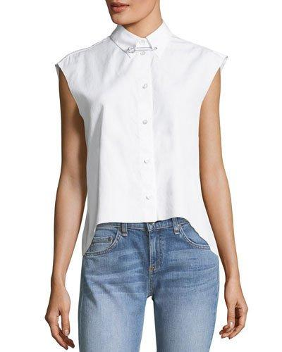 8316b5c3889 Helmut Lang Button-Front Sleeveless Cropped Poplin Shirt In Bright Wht