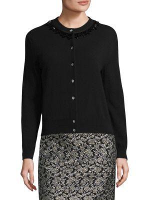 Marc Jacobs Embellished Wool & Cashmere Cardigan In Black