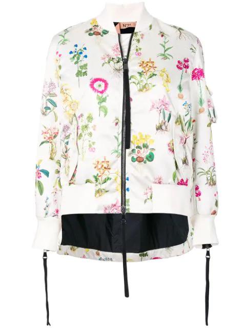 N°21 Nº21 Floral Bomber Jacket - Neutrals